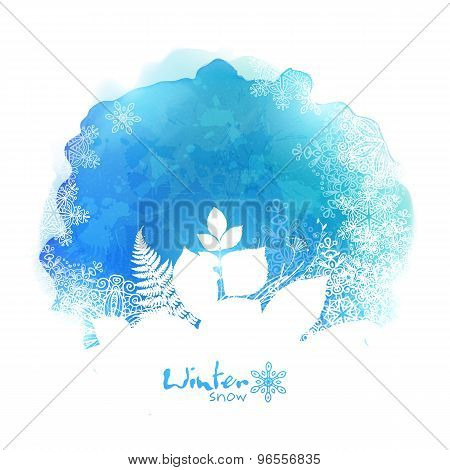 Blue vector watercolor stain with white foliage and snowflakes silhouette