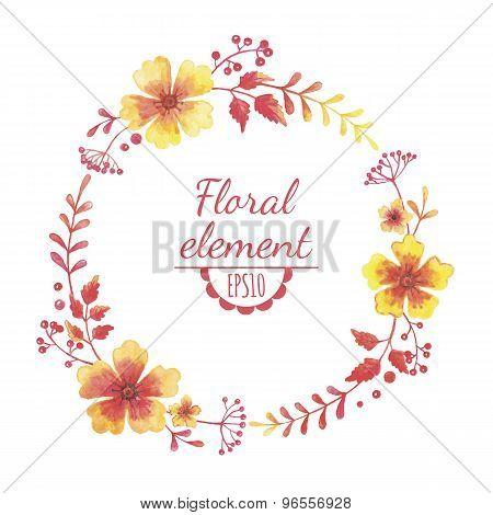 Vector Watercolor Floral Wreath.