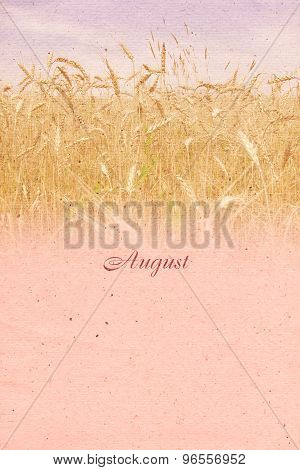 Stylized Vintage Background For Calendar Month. August