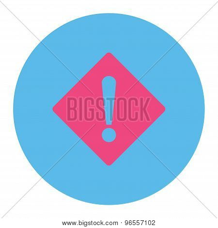 Error flat pink and blue colors round button