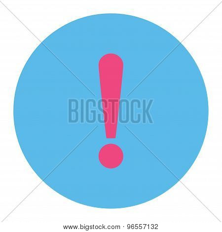Exclamation Sign flat pink and blue colors round button