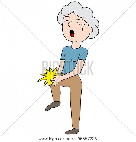 An image of a cartoon woman with pain in her knee.