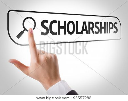 Scholarships written in search bar on virtual screen