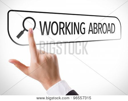 Working Abroad written in search bar on virtual screen