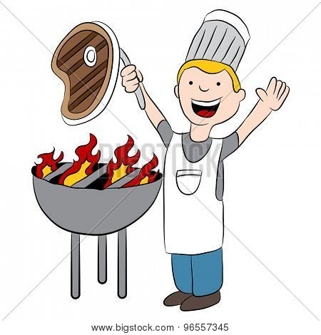 An image of a cartoon chef pulling a steak off the flaming grill.