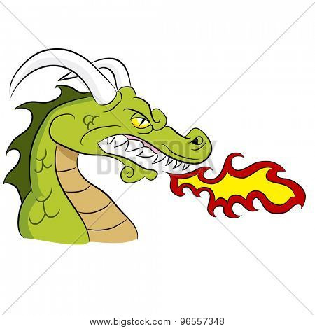 An image of a cartoon fire breathing dragon.