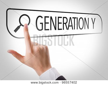 Generation Y written in search bar on virtual screen