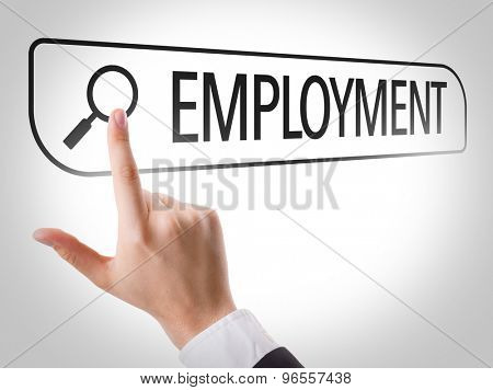 Employment written in search bar on virtual screen