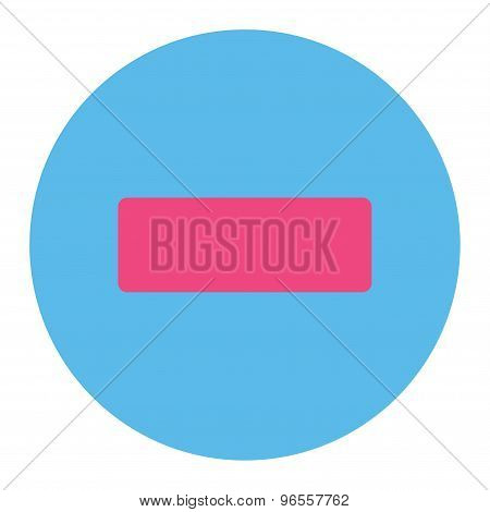 Minus flat pink and blue colors round button