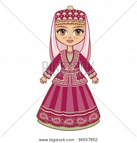 Azerbaijanian suit. Vector drawing on white background. Isolated image