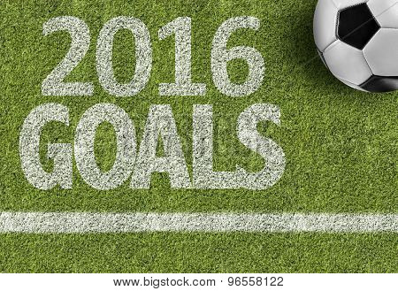 Soccer field with the text: 2016 Goals