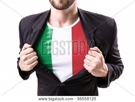 Businessman stretching suit with Italian Flag isolated on white