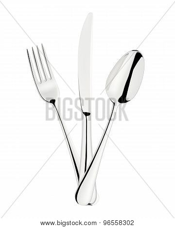 Fork, spoon and knife isolated on white.