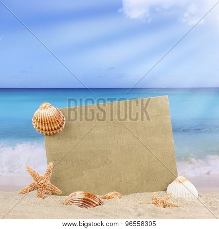 Sandy Beach Scene In Summer With Copyspace