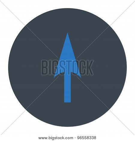 Arrow Axis Y flat smooth blue colors round button