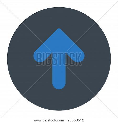 Arrow Up flat smooth blue colors round button