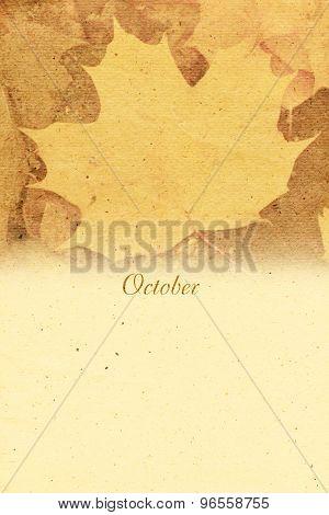Stylized Vintage Background For Calendar Month. October