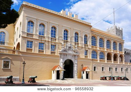 view of the facade of the Princes Palace of Monaco in Monaco-Ville, Monaco