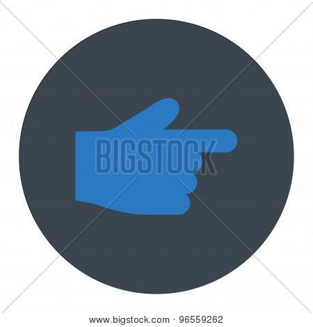Index Finger flat smooth blue colors round button