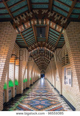 long hallway in beautiful tiled patterns