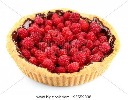Tart with fresh raspberries, isolated on white