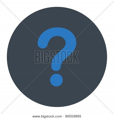 Question flat smooth blue colors round button