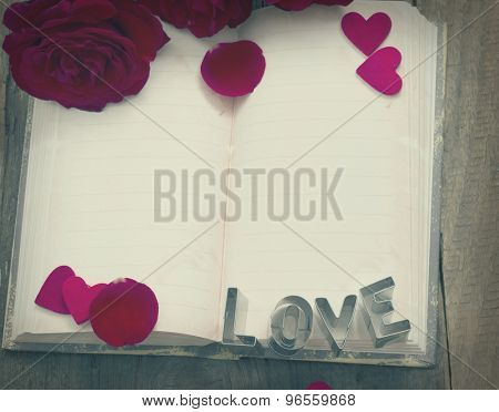 blank space for love letter with red roses