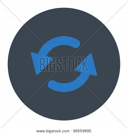 Refresh Ccw flat smooth blue colors round button