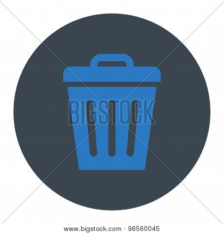 Trash Can flat smooth blue colors round button