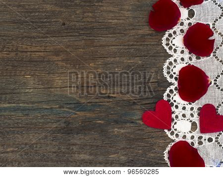 love background with little hearts and rose petals