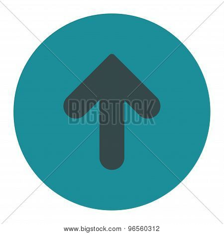 Arrow Up flat soft blue colors round button