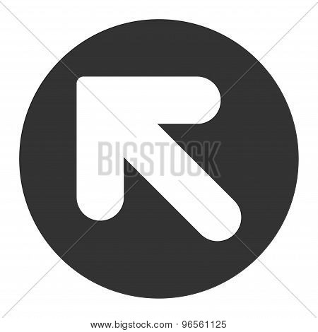 Arrow Up Left flat white and gray colors round button