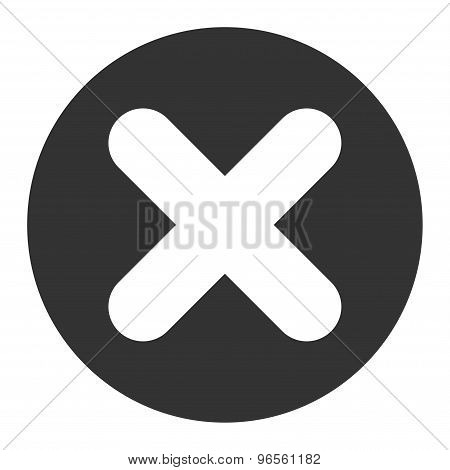 Cancel flat white and gray colors round button