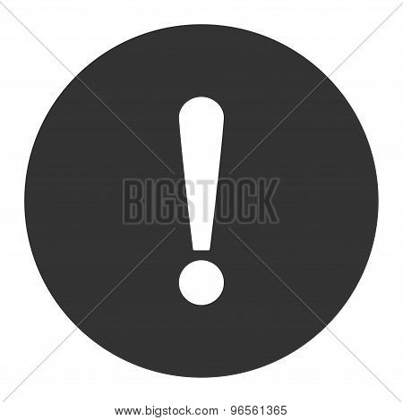 Exclamation Sign flat white and gray colors round button