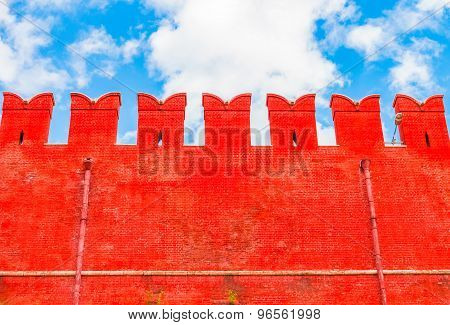Red Brick Wall Of The Moscow Kremlin