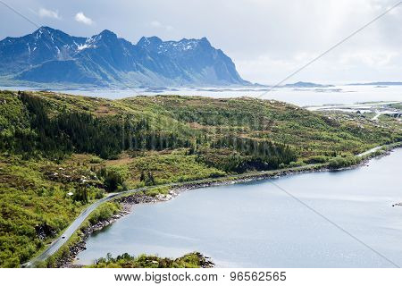 road to mountains, Lofoten Islands in Norway