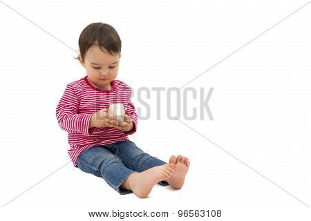 Little Cute Girl Holding A Gift Box, Isolated On The White Background