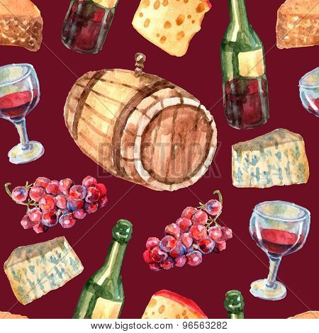 Wine Watercolor Seamless Pattern