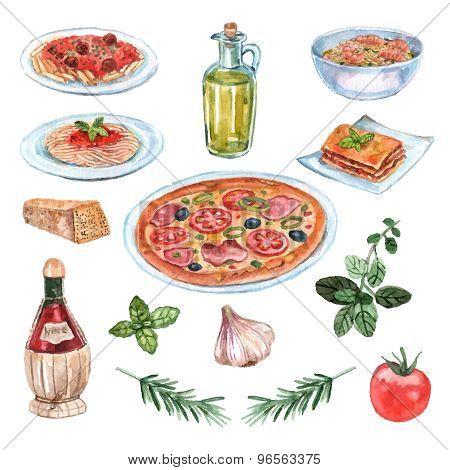 Italian Food Watercolor Set