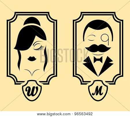 Vector retro style Man & Woman restroom sign