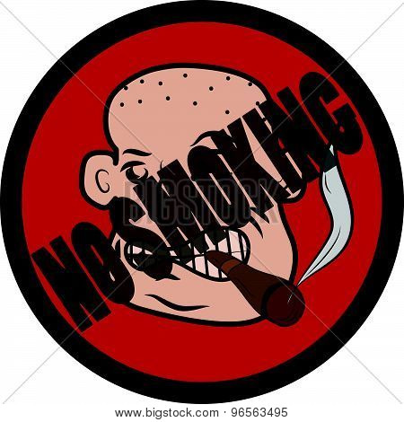 Bald man with cigar no smoking vector sign