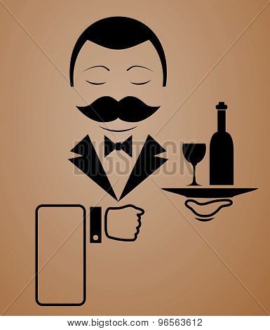 Vector waiter with mustache icon