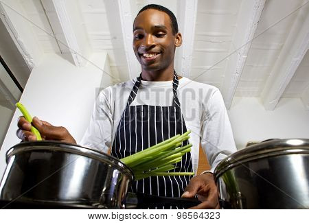 Close Up of Man Cooking