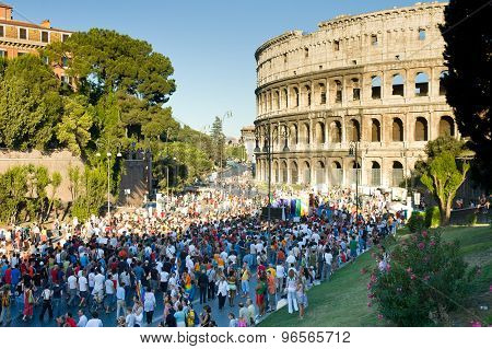 Rome, Italy - July 9 2005. Gay Pride Day, Parade People In Rome Under Colosseum