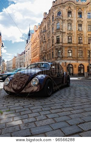 Nice retro style car in a Prague streets