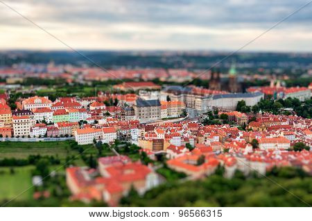 Prague view of the city from above with tilt shift effect