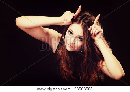 Funny Teen Girl Making Devil Horns