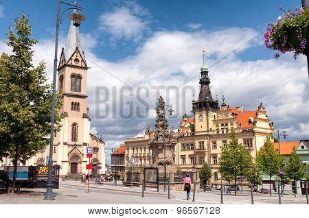 Old town square in Kladno city near Prague, Czech Republic, Europe