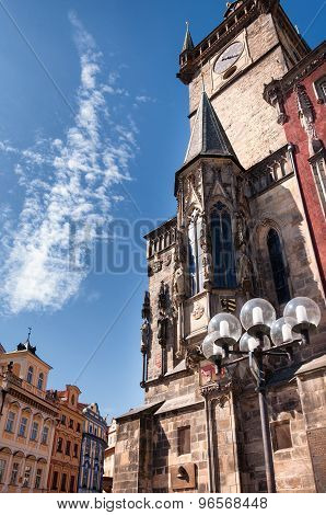 Old city hall building of Prague with astronomical clock, Czech Republic