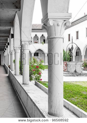 Rectangular Cloister With Gothic Arches And  Columns.